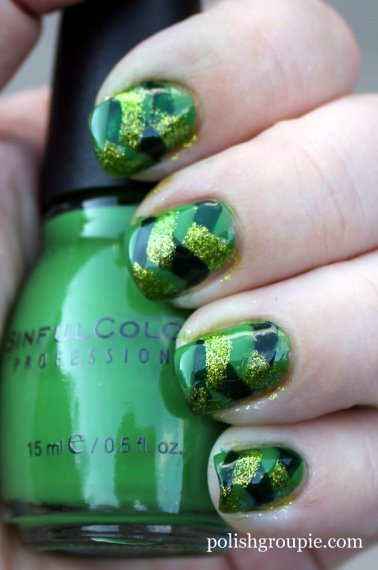 Fishtail braid manicure with sinful colors exotic green