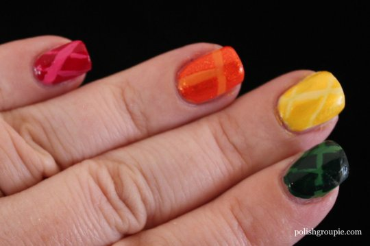 Rainbow Laser Tape Nail Art