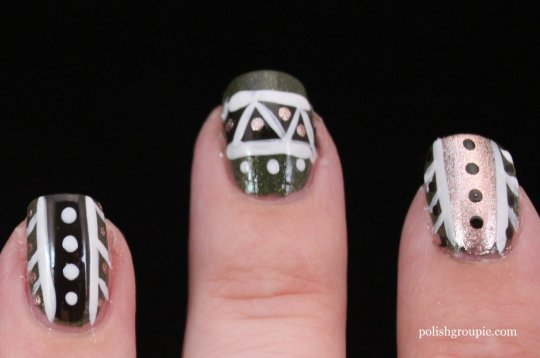 tribal nail art with Zoya Yara and Zoya Codie