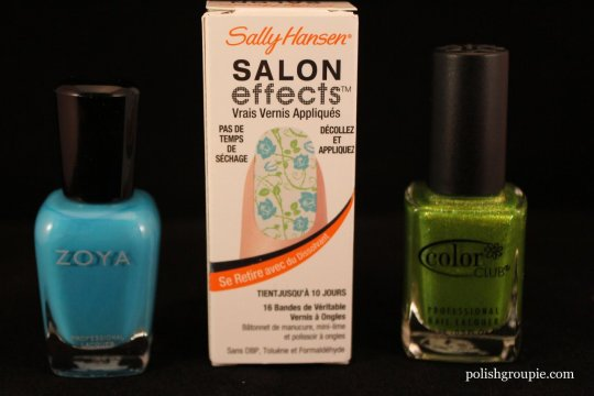 Sally Hansen Salon Effects Real Nail Polish Strips Vine And Dine with Zoya Robyn and Color Club Fly With Me