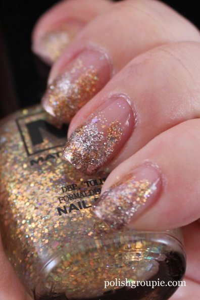 U2 Silver and Gold Glitter Gradient nail art