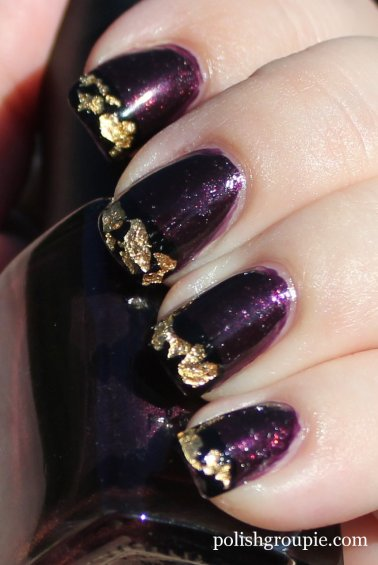 Gold Foil Tip Manicure with Color Club Catwalk Queen