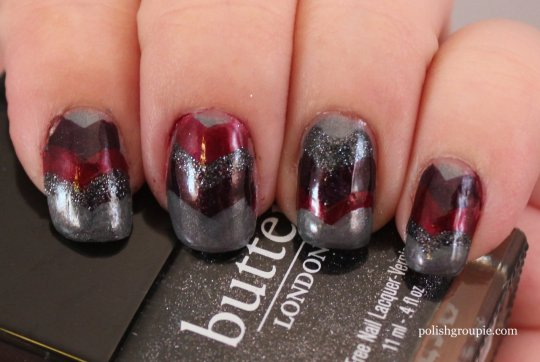 Dark Chevron Nail Art