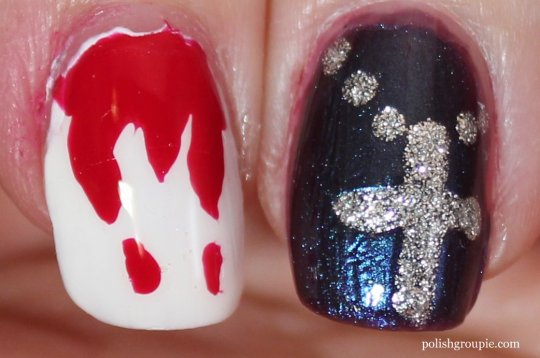 Vampire Nail Art Dripping Blood, Cross/Crucifix
