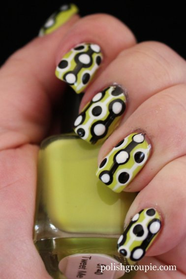 Black and White Retro Dot Nail Art With Color Club Tweet Me