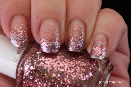 Pink Glitter Gradient Nail Art with Essie Luxeffects A Cut Above