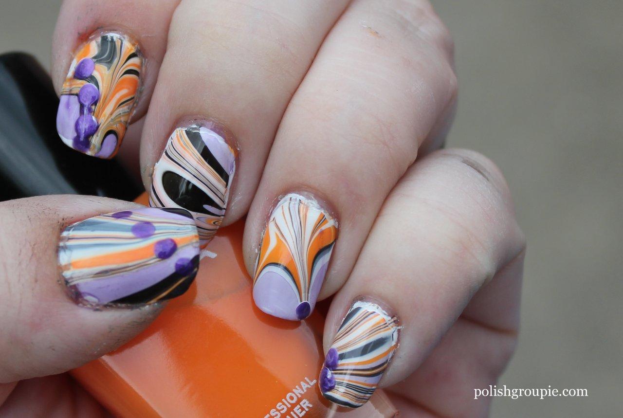 Nail-aween Nail Art Challenge Water Marble   Polish Groupie