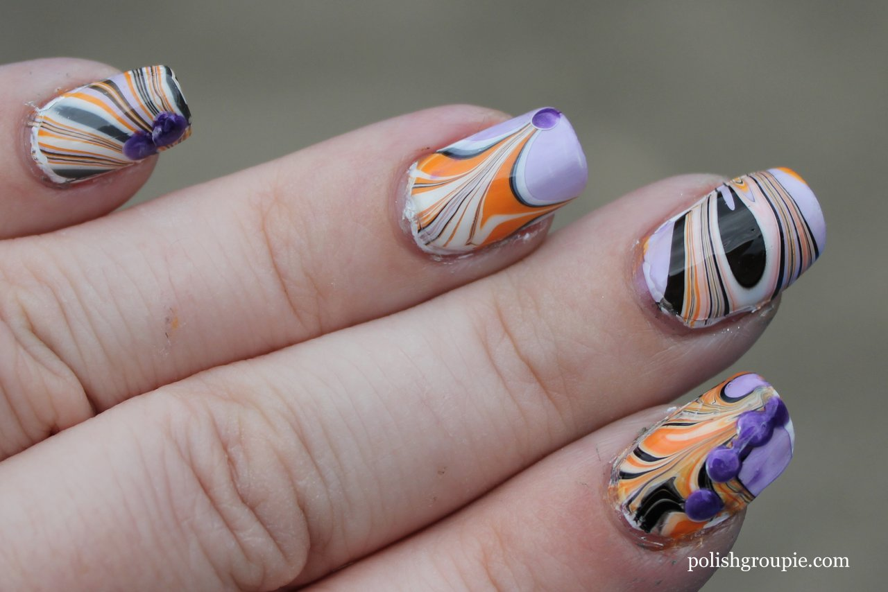 Nail-aween Nail Art Challenge: Water Marble   Polish Groupie