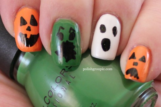 Ghosts Goblin Jack-o-lantern pumpkin Halloween nail art