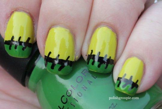 Frankenstein French tips Halloween nail art