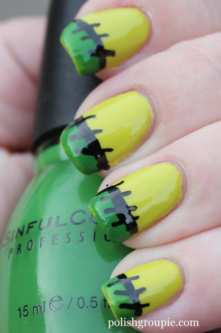 Nail Aween Nail Art Challenge Frankenstein French Tips Polish Groupie