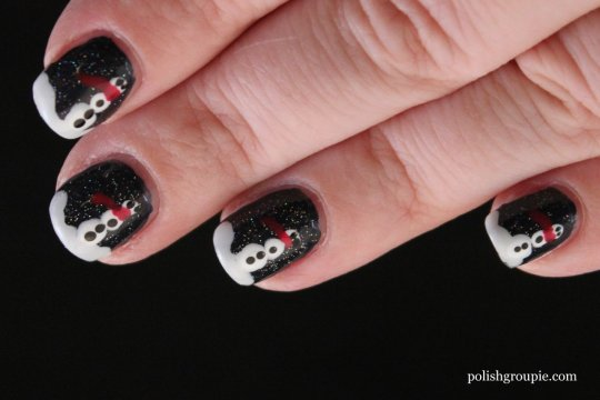 Christmas/Winter nail art: Snowmen